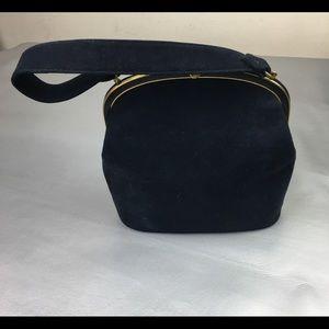 Vintage Bienen-Davis navy suede top lock handbag